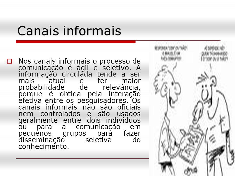 Canais informais  Nos canais informais o processo de comunicação é ágil e seletivo. A informação circulada tende a ser mais atual e ter maior probabi