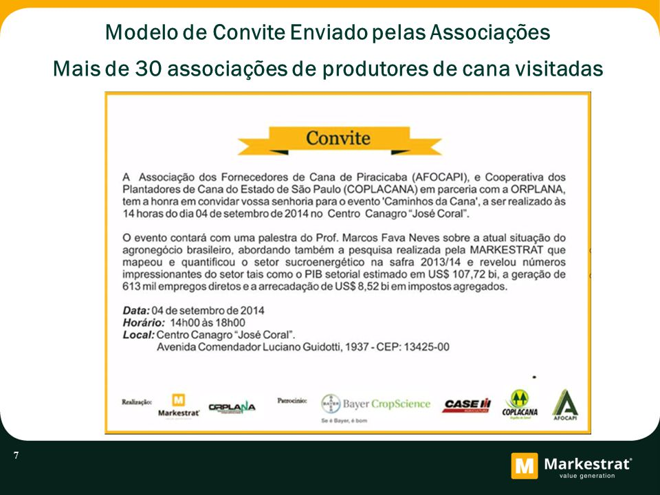 Modelo de Convite Enviado pelas Associações Mais de 30 associações de produtores de cana visitadas 7