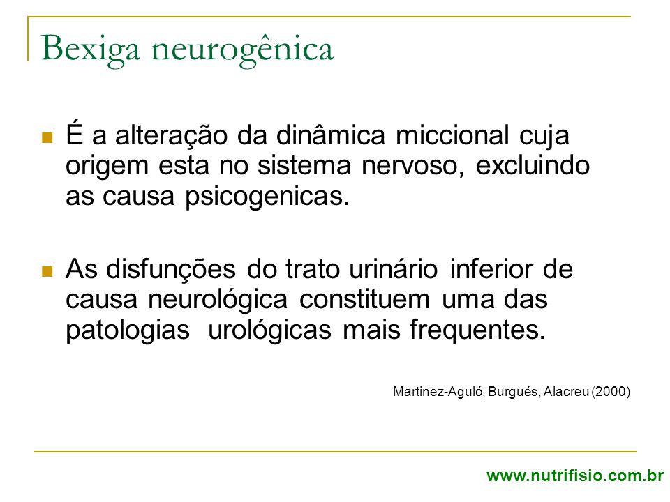 Bexiga neurogênica É a alteração da dinâmica miccional cuja origem esta no sistema nervoso, excluindo as causa psicogenicas. As disfunções do trato ur
