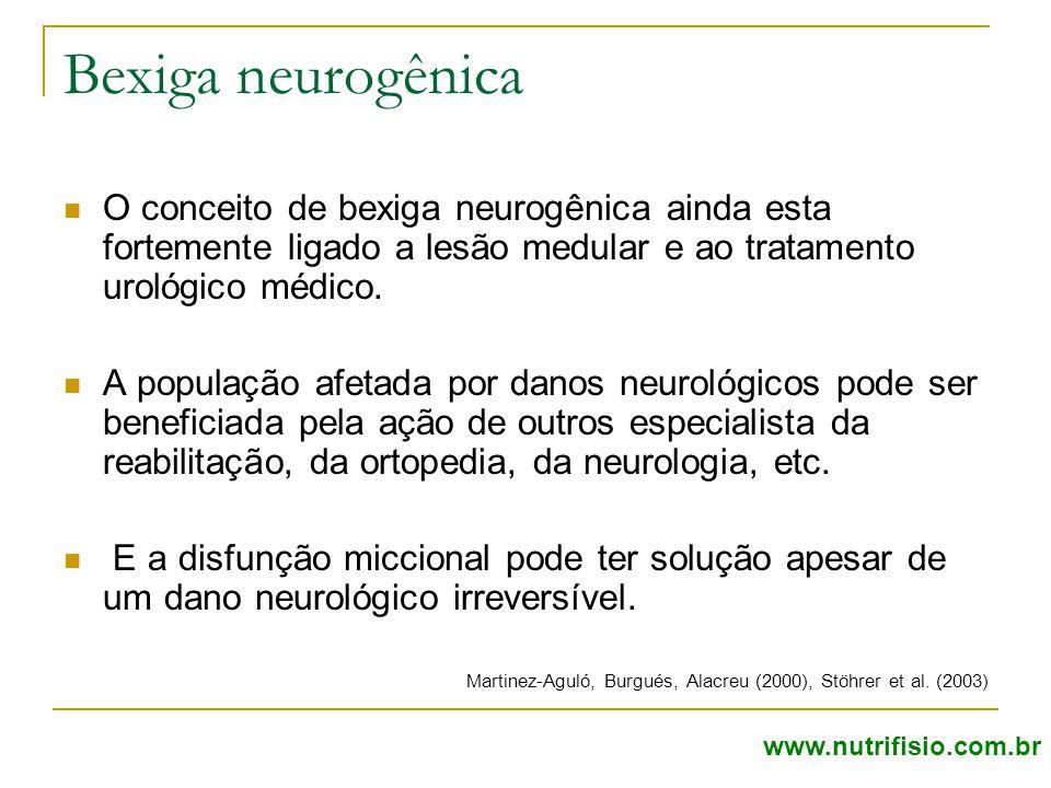 Bexiga neurogênica O conceito de bexiga neurogênica ainda esta fortemente ligado a lesão medular e ao tratamento urológico médico. A população afetada