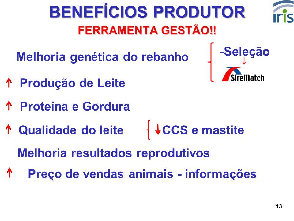 13 BENEFÍCIOS PRODUTOR FERRAMENTA GESTÃO!! Produção de Leite Proteína e Gordura Melhoria resultados reprodutivos Preço de vendas animais - informações