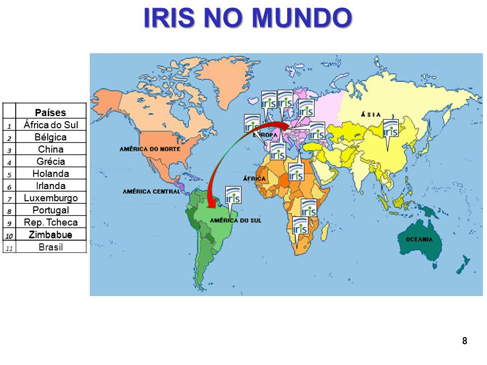 8 IRIS NO MUNDO Países 1 África do Sul 2 Bélgica 3 China 4 Grécia 5 Holanda 6 Irlanda 7 Luxemburgo 8 Portugal 9 Rep. Tcheca 10 Zimbabue Países 1 Áfric