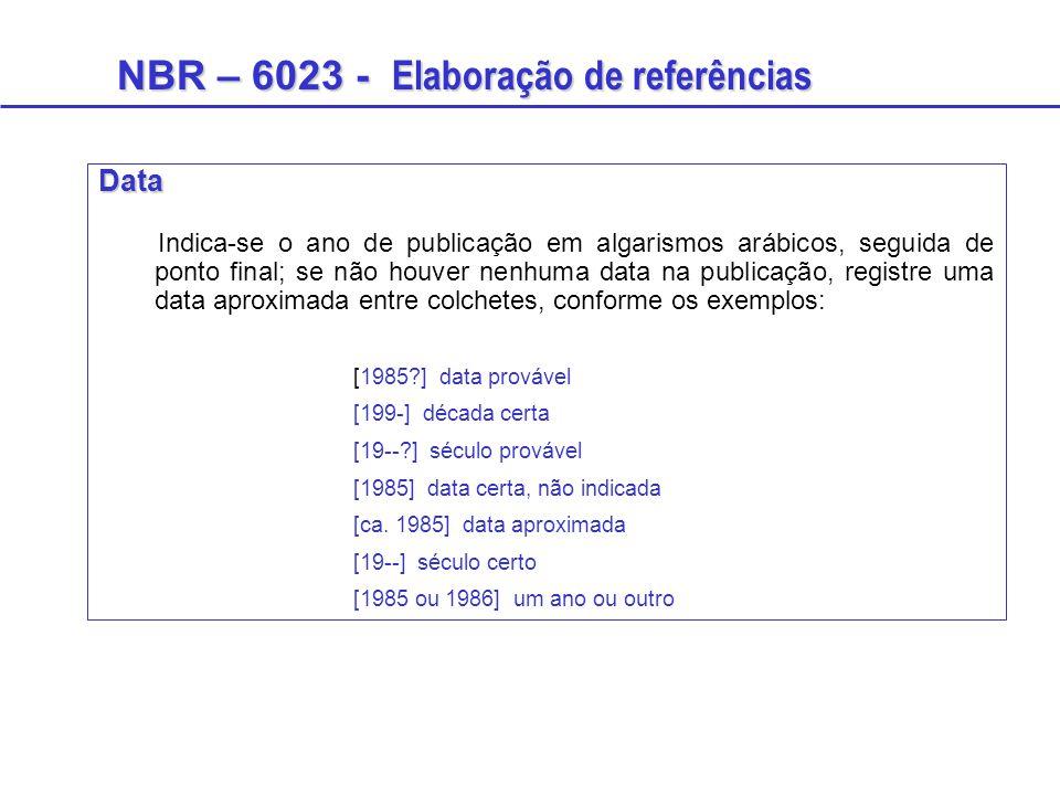NBR – 6023 - Elaboração de referências Data Indica-se o ano de publicação em algarismos arábicos, seguida de ponto final; se não houver nenhuma data n