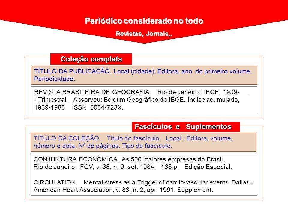 TÍTULO DA PUBLICACÃO. Local (cidade): Editora, ano do primeiro volume. Periodicidade. REVISTA BRASILEIRA DE GEOGRAFIA. Rio de Janeiro : IBGE, 1939-. -