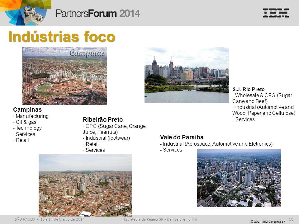 © 2014 IBM Corporation SÃO PAULO 13 e 14 de Março de 2014 Indústrias foco Estratégia da Região SP Denise Cremonini10 Campinas - Manufacturing - Oil &