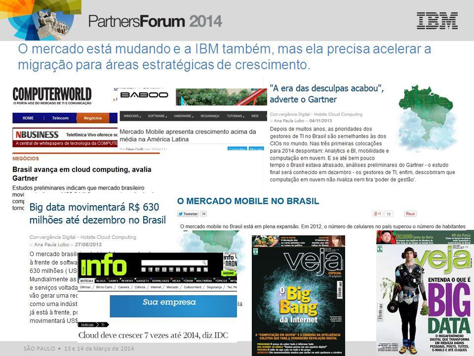 © 2014 IBM Corporation SÃO PAULO 13 e 14 de Março de 2014 O mercado está mudando e a IBM também, mas ela precisa acelerar a migração para áreas estrat