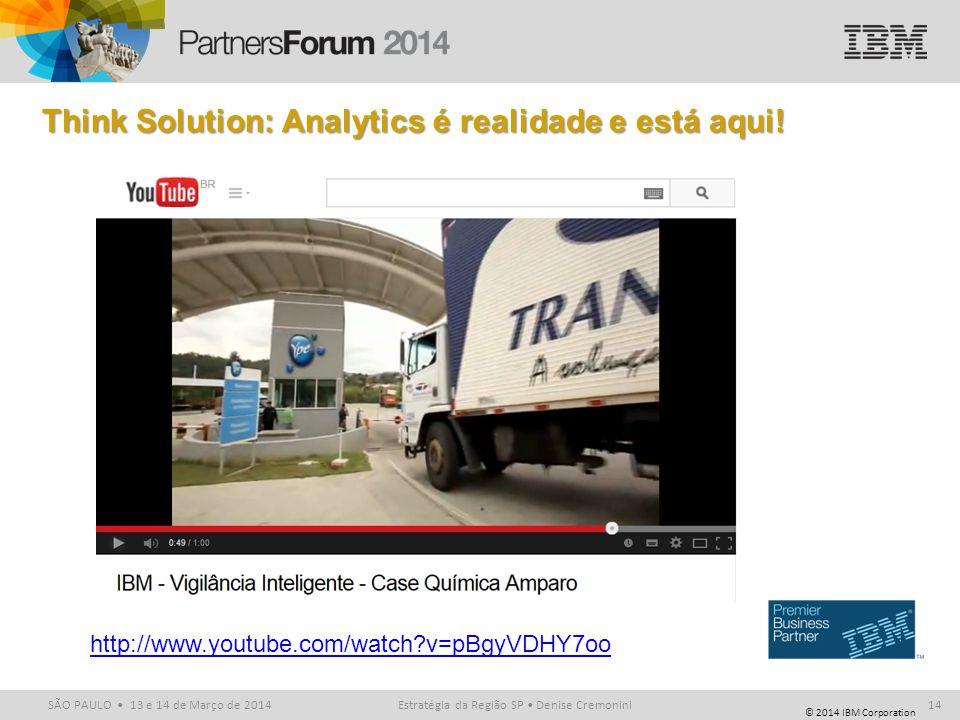 © 2014 IBM Corporation SÃO PAULO 13 e 14 de Março de 2014 Think Solution: Analytics é realidade e está aqui! Estratégia da Região SP Denise Cremonini1