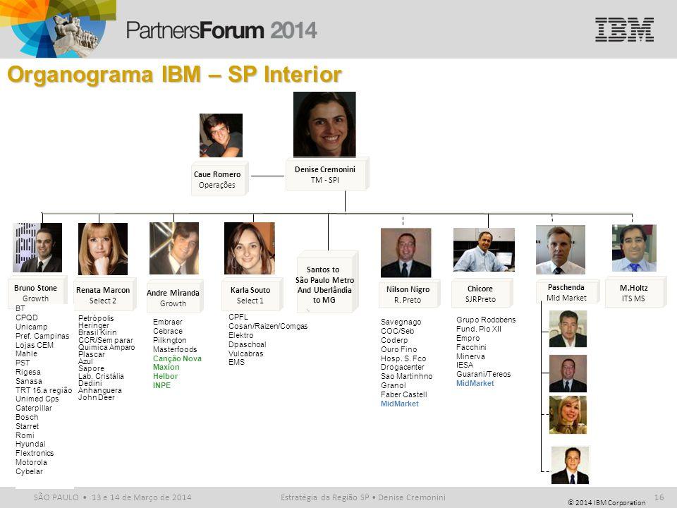 © 2014 IBM Corporation SÃO PAULO 13 e 14 de Março de 2014 Organograma IBM – SP Interior Bruno Stone Growth Renata Marcon Select 2 Nilson Nigro R. Pret