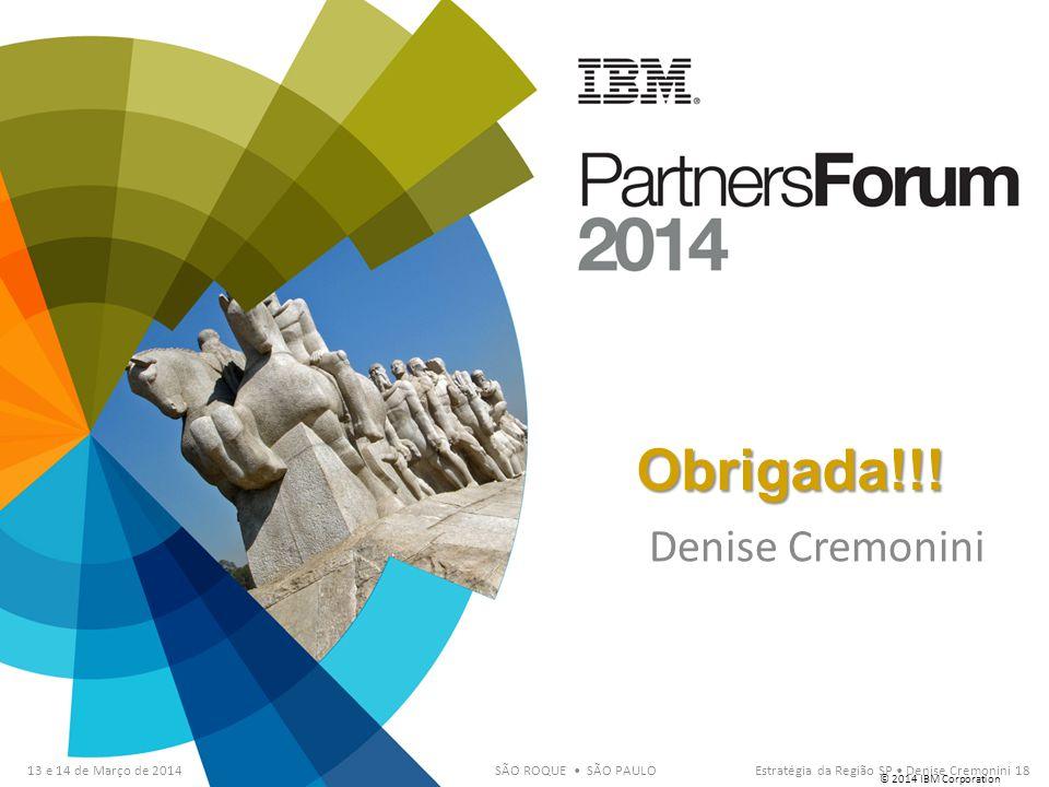 © 2014 IBM Corporation 13 e 14 de Março de 2014SÃO ROQUE SÃO PAULO Obrigada!!! Denise Cremonini 18Estratégia da Região SP Denise Cremonini