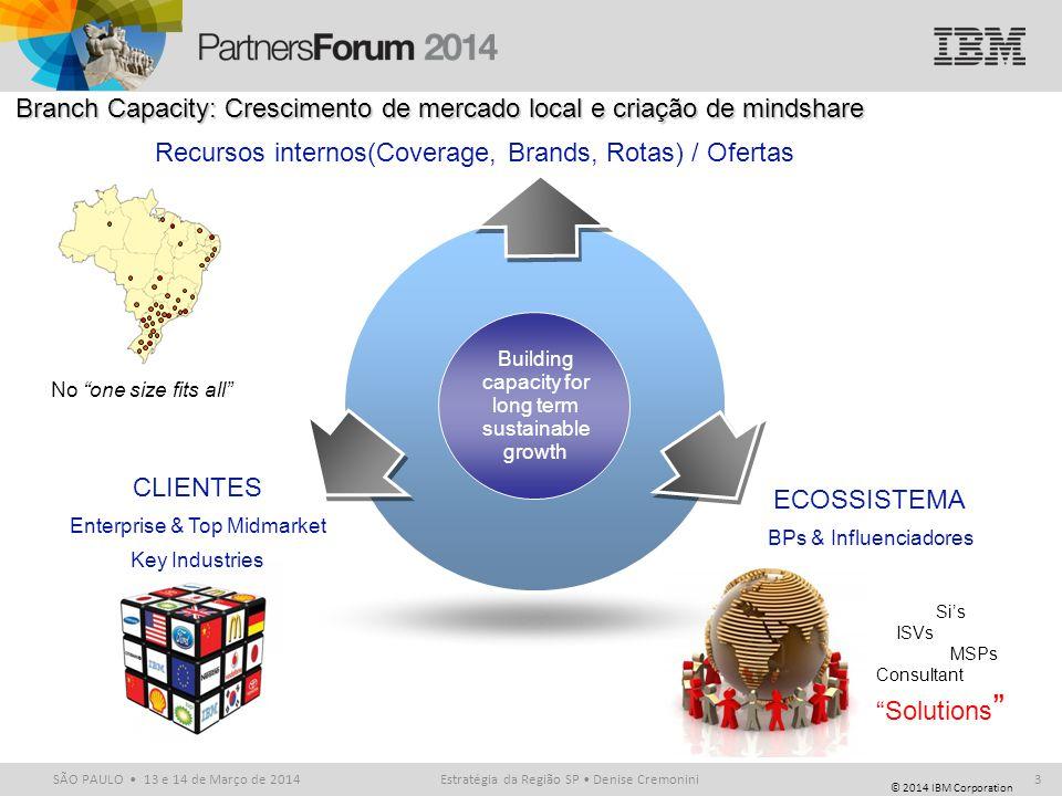 © 2014 IBM Corporation SÃO PAULO 13 e 14 de Março de 2014Estratégia da Região SP Denise Cremonini3 Recursos internos(Coverage, Brands, Rotas) / Oferta