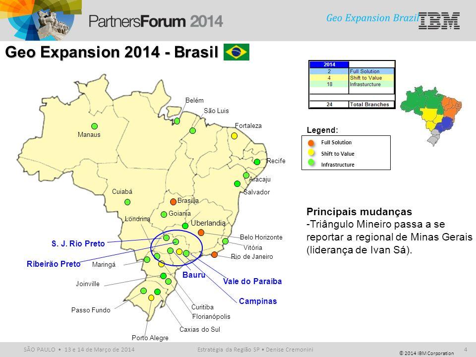© 2014 IBM Corporation SÃO PAULO 13 e 14 de Março de 2014 Full Solution Shift to Value Infrastructure Legend: Belo Horizonte Fortaleza Goiania Brasili