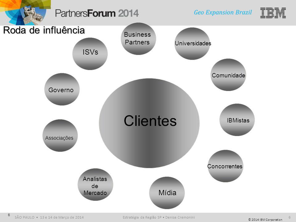 © 2014 IBM Corporation SÃO PAULO 13 e 14 de Março de 2014 6 Roda de influência Clientes ISVs Business Partners Universidades Governo Associações Anali