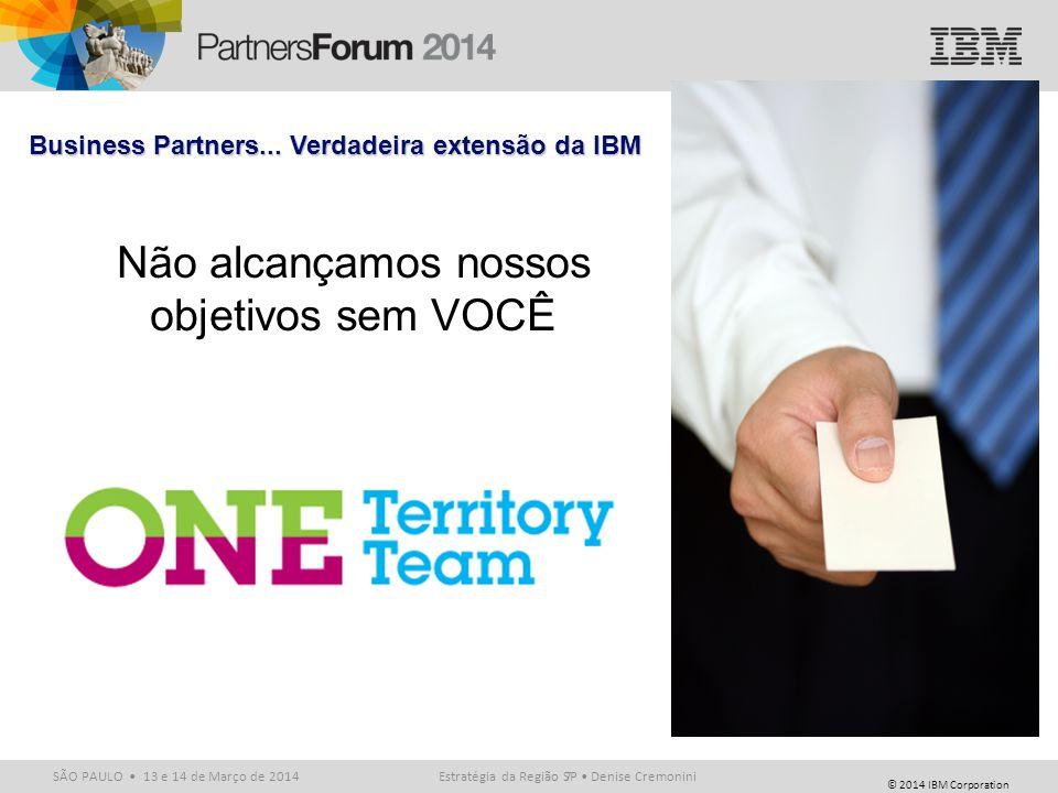 © 2014 IBM Corporation SÃO PAULO 13 e 14 de Março de 20147 Business Partners... Verdadeira extensão da IBM Não alcançamos nossos objetivos sem VOCÊ Es
