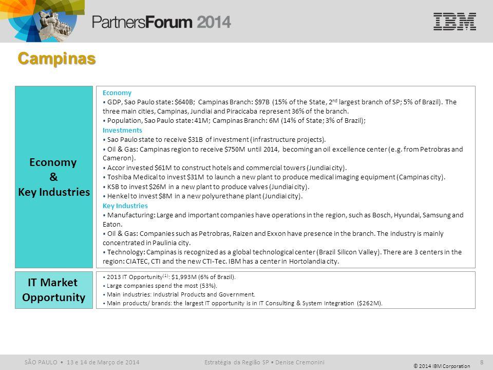 © 2014 IBM Corporation SÃO PAULO 13 e 14 de Março de 2014 Campinas Estratégia da Região SP Denise Cremonini8 IT Market Opportunity Economy & Key Indus