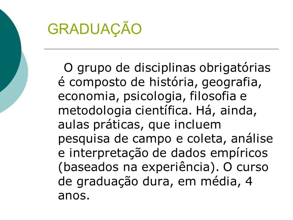 GRADUAÇÃO O grupo de disciplinas obrigatórias é composto de história, geografia, economia, psicologia, filosofia e metodologia científica. Há, ainda,