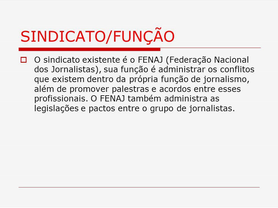 SINDICATO/FUNÇÃO  O sindicato existente é o FENAJ (Federação Nacional dos Jornalistas), sua função é administrar os conflitos que existem dentro da p