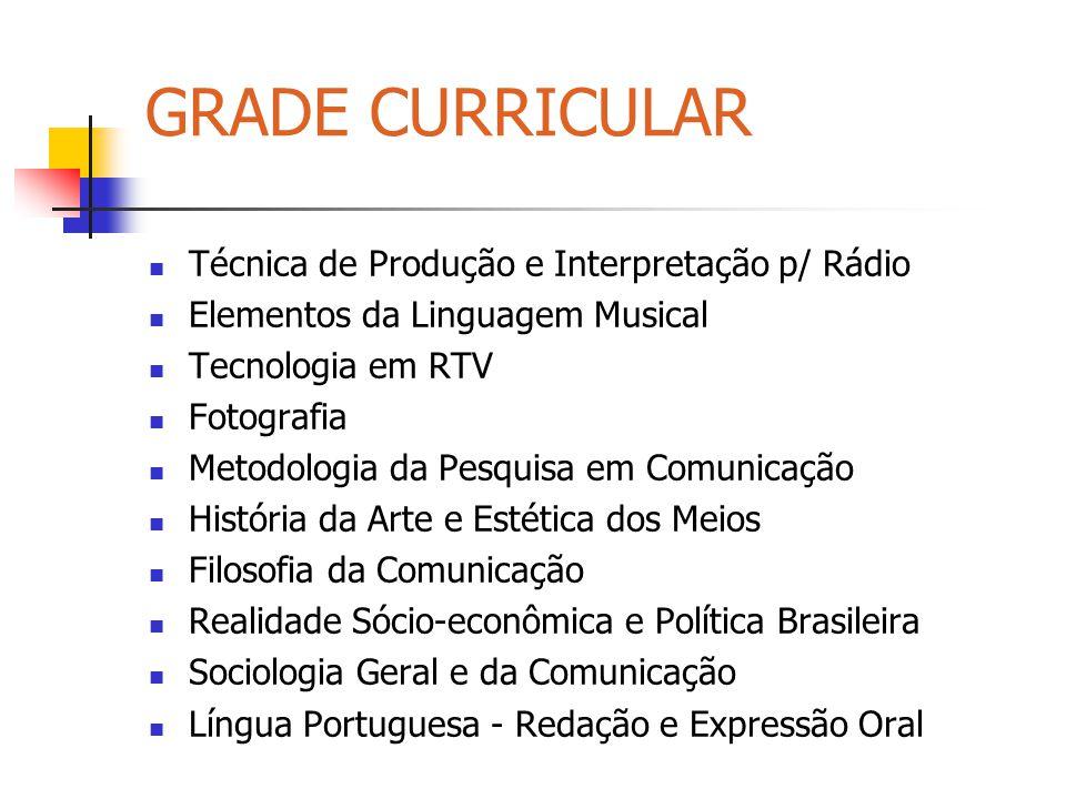 GRADE CURRICULAR Técnica de Produção e Interpretação p/ Rádio Elementos da Linguagem Musical Tecnologia em RTV Fotografia Metodologia da Pesquisa em C