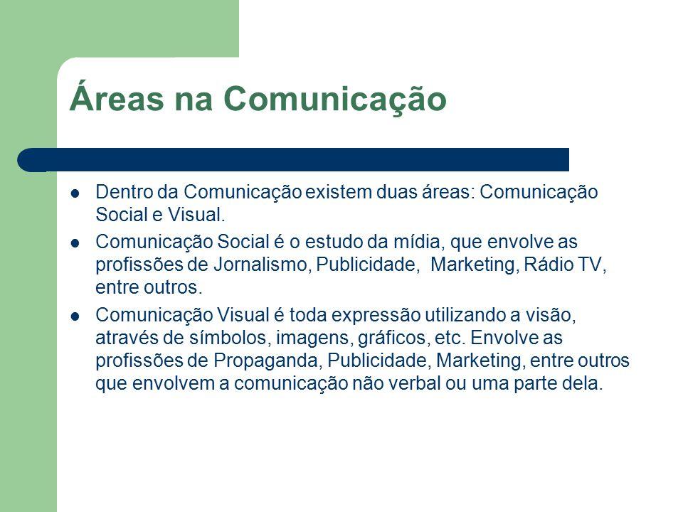 Áreas na Comunicação Dentro da Comunicação existem duas áreas: Comunicação Social e Visual. Comunicação Social é o estudo da mídia, que envolve as pro