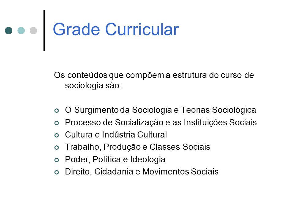 Grade Curricular Os conteúdos que compõem a estrutura do curso de sociologia são: O Surgimento da Sociologia e Teorias Sociológica Processo de Sociali