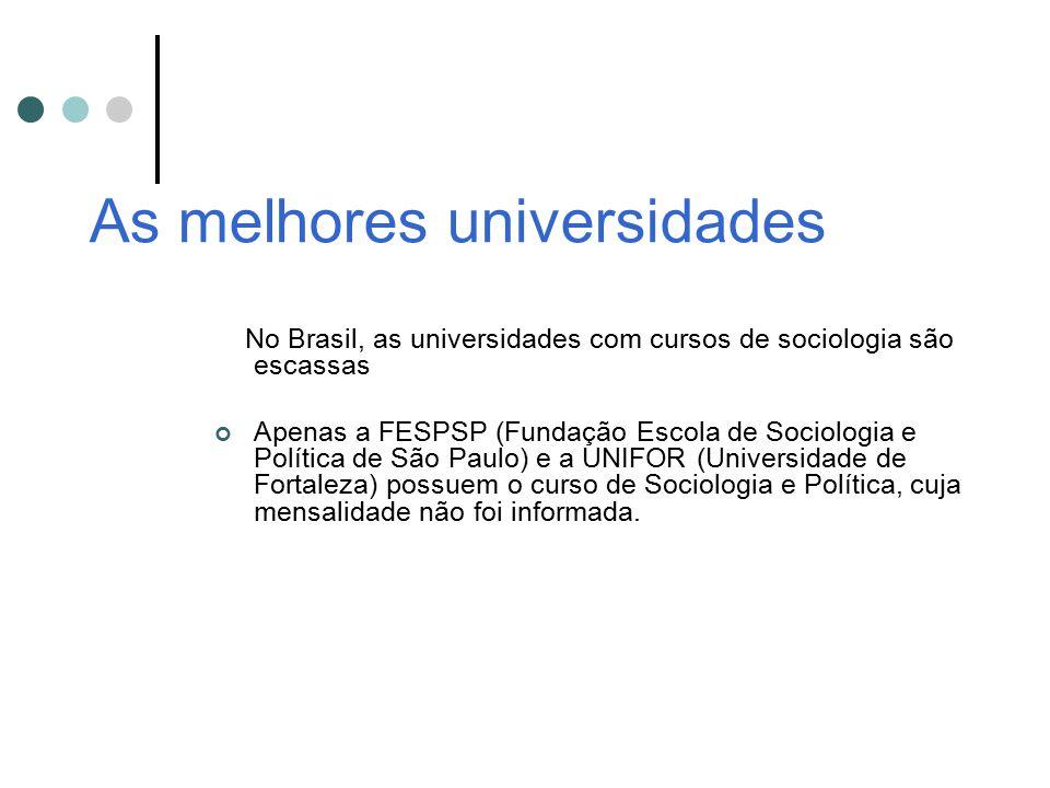 As melhores universidades No Brasil, as universidades com cursos de sociologia são escassas Apenas a FESPSP (Fundação Escola de Sociologia e Política
