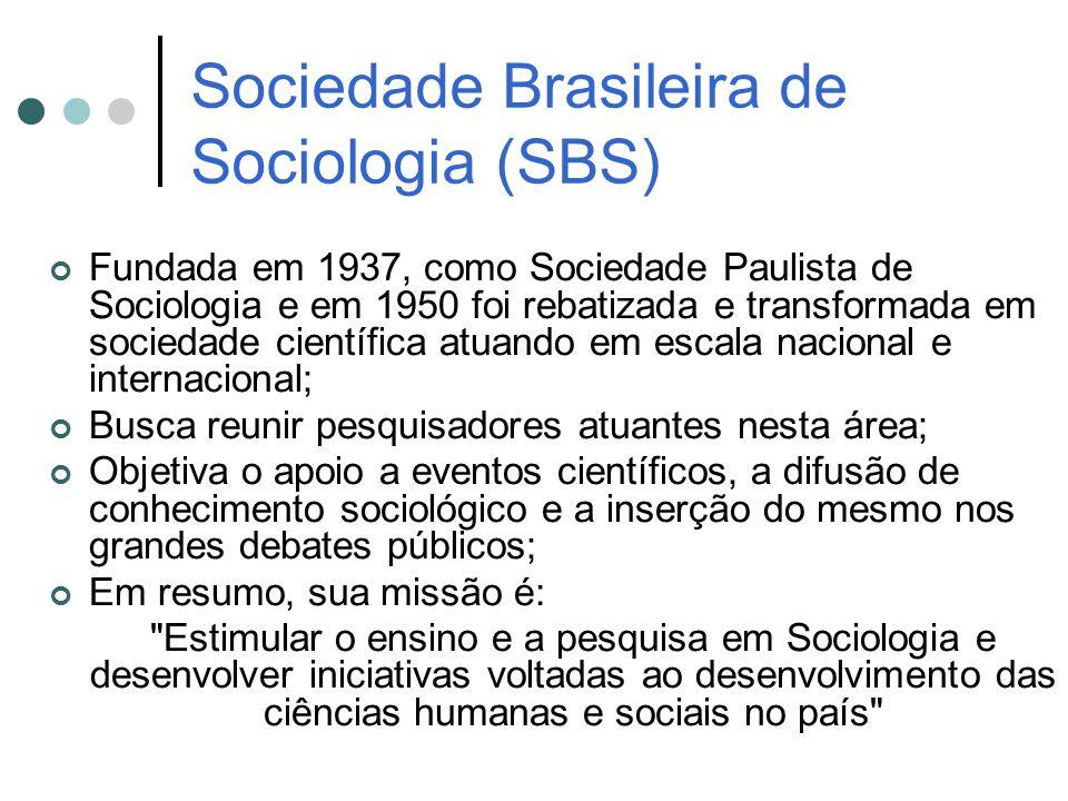Sociedade Brasileira de Sociologia (SBS) Fundada em 1937, como Sociedade Paulista de Sociologia e em 1950 foi rebatizada e transformada em sociedade c