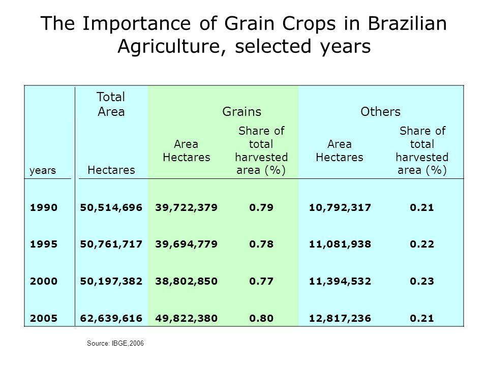 The Importance of Grain Crops in Brazilian Agriculture, selected years years Total Area GrainsOthers Hectares Area Hectares Share of total harvested area (%) Area Hectares Share of total harvested area (%) 199050,514,69639,722,3790.7910,792,3170.21 199550,761,71739,694,7790.7811,081,9380.22 200050,197,38238,802,8500.7711,394,5320.23 200562,639,61649,822,3800.8012,817,2360.21 Source: IBGE,2006