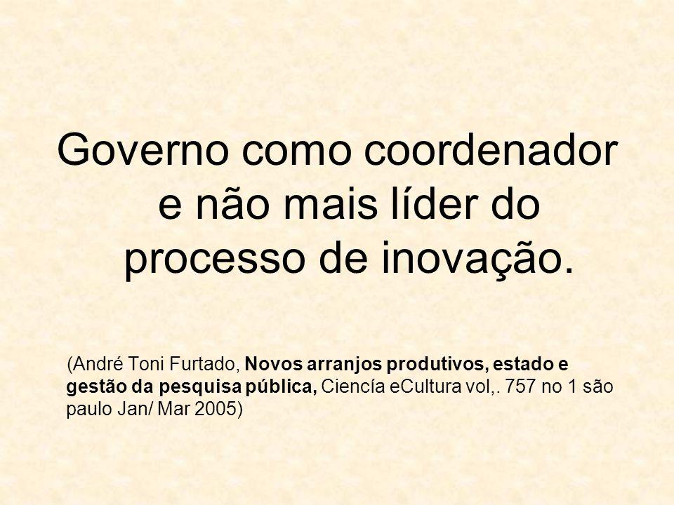 Governo como coordenador e não mais líder do processo de inovação. (André Toni Furtado, Novos arranjos produtivos, estado e gestão da pesquisa pública