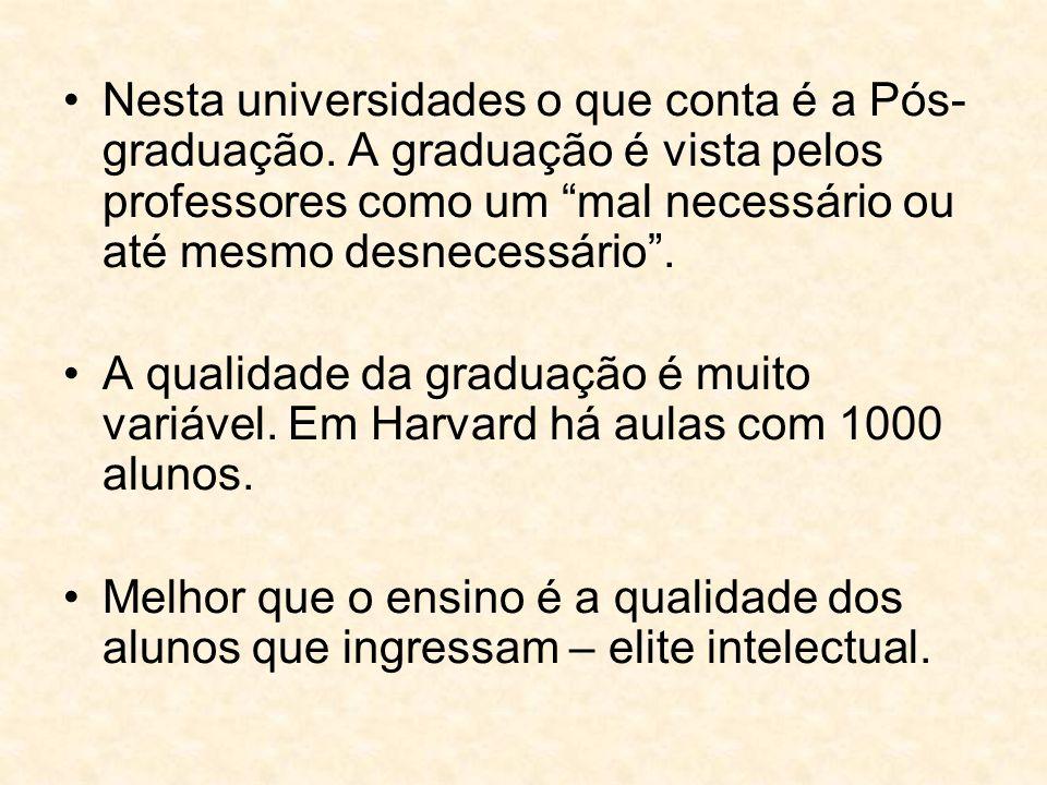 """Nesta universidades o que conta é a Pós- graduação. A graduação é vista pelos professores como um """"mal necessário ou até mesmo desnecessário"""". A quali"""