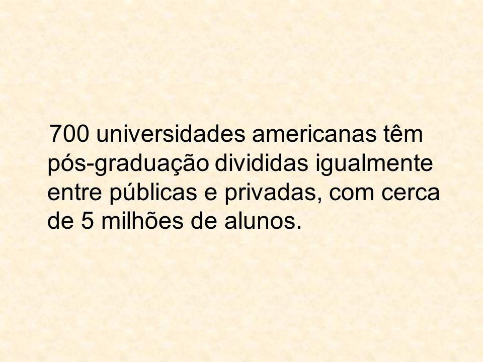 700 universidades americanas têm pós-graduação divididas igualmente entre públicas e privadas, com cerca de 5 milhões de alunos.