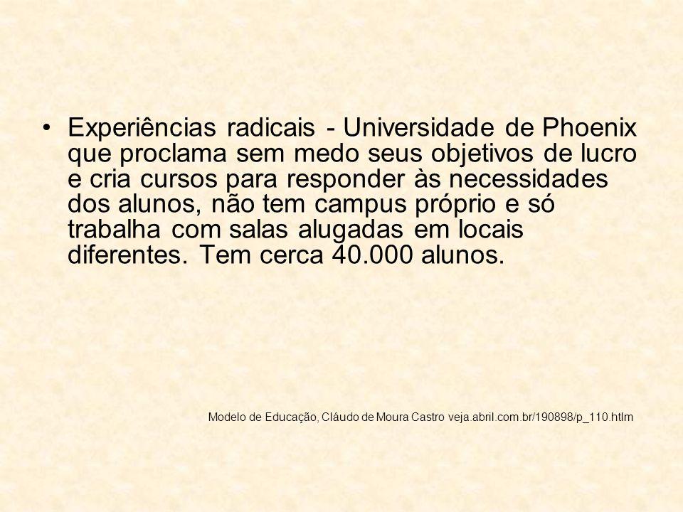 Experiências radicais - Universidade de Phoenix que proclama sem medo seus objetivos de lucro e cria cursos para responder às necessidades dos alunos,