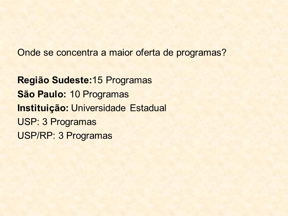 Onde se concentra a maior oferta de programas? Região Sudeste:15 Programas São Paulo: 10 Programas Instituição: Universidade Estadual USP: 3 Programas