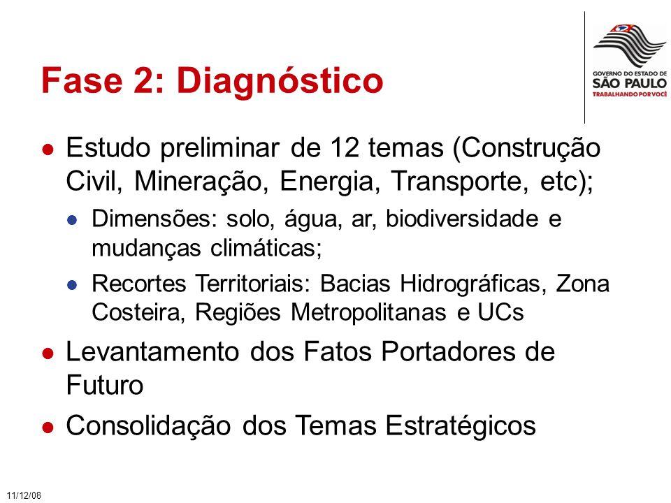 Fase 2: Diagnóstico Estudo preliminar de 12 temas (Construção Civil, Mineração, Energia, Transporte, etc); Dimensões: solo, água, ar, biodiversidade e mudanças climáticas; Recortes Territoriais: Bacias Hidrográficas, Zona Costeira, Regiões Metropolitanas e UCs Levantamento dos Fatos Portadores de Futuro Consolidação dos Temas Estratégicos 11/12/08