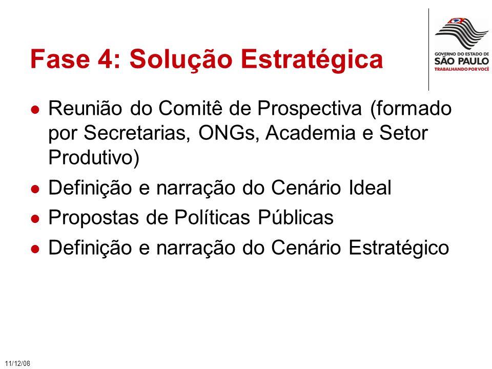 Fase 4: Solução Estratégica Reunião do Comitê de Prospectiva (formado por Secretarias, ONGs, Academia e Setor Produtivo) Definição e narração do Cenário Ideal Propostas de Políticas Públicas Definição e narração do Cenário Estratégico 11/12/08