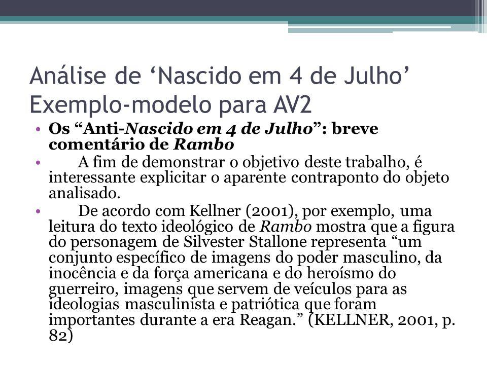 """Análise de 'Nascido em 4 de Julho' Exemplo-modelo para AV2 Os """"Anti-Nascido em 4 de Julho"""": breve comentário de Rambo A fim de demonstrar o objetivo d"""