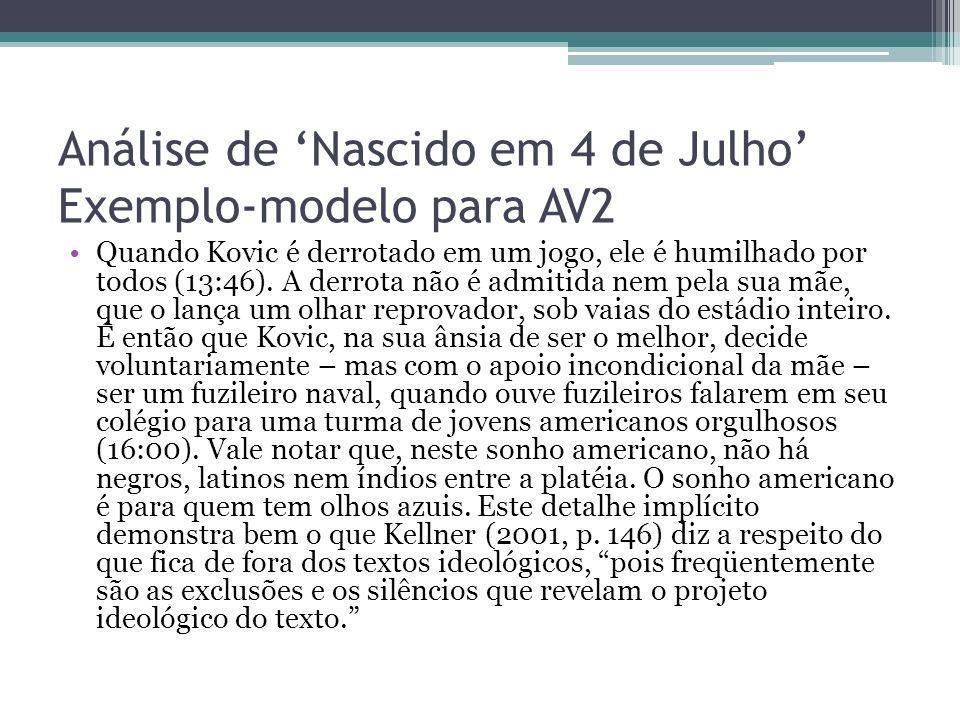 Análise de 'Nascido em 4 de Julho' Exemplo-modelo para AV2 Quando Kovic é derrotado em um jogo, ele é humilhado por todos (13:46). A derrota não é adm