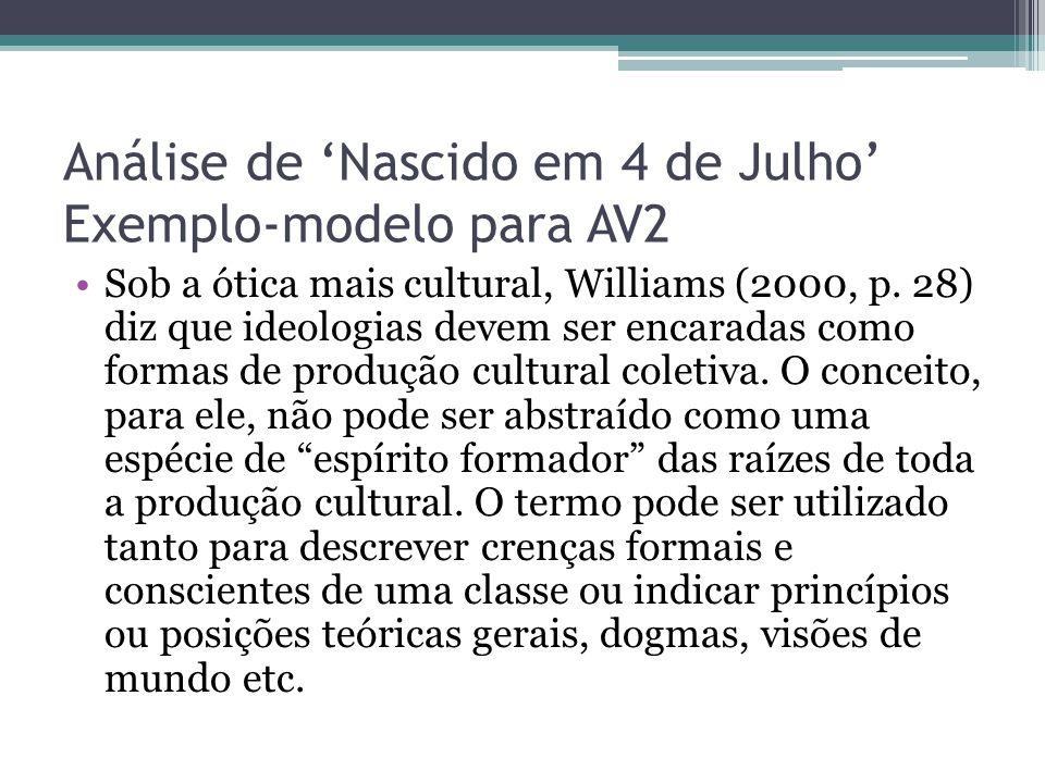 Análise de 'Nascido em 4 de Julho' Exemplo-modelo para AV2 Sob a ótica mais cultural, Williams (2000, p. 28) diz que ideologias devem ser encaradas co