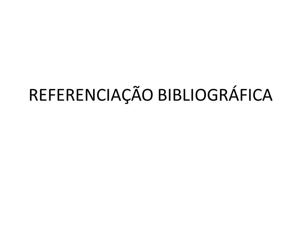 REFERENCIAÇÃO BIBLIOGRÁFICA