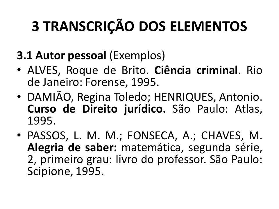 3 TRANSCRIÇÃO DOS ELEMENTOS 3.1 Autor pessoal (Exemplos) ALVES, Roque de Brito.