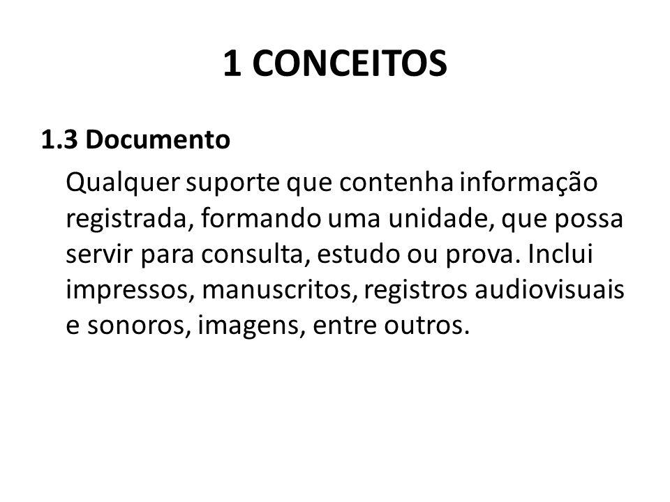 1 CONCEITOS 1.3 Documento Qualquer suporte que contenha informação registrada, formando uma unidade, que possa servir para consulta, estudo ou prova.