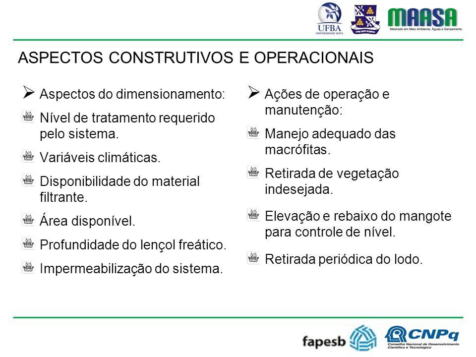 ASPECTOS CONSTRUTIVOS E OPERACIONAIS  Aspectos do dimensionamento: Nível de tratamento requerido pelo sistema.