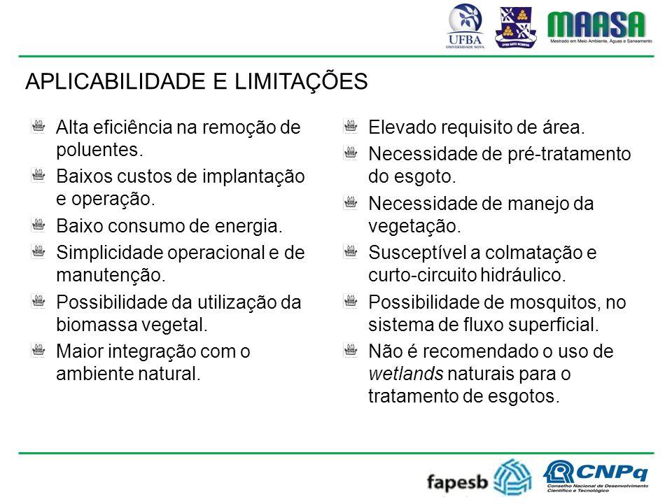 Alta eficiência na remoção de poluentes.Baixos custos de implantação e operação.