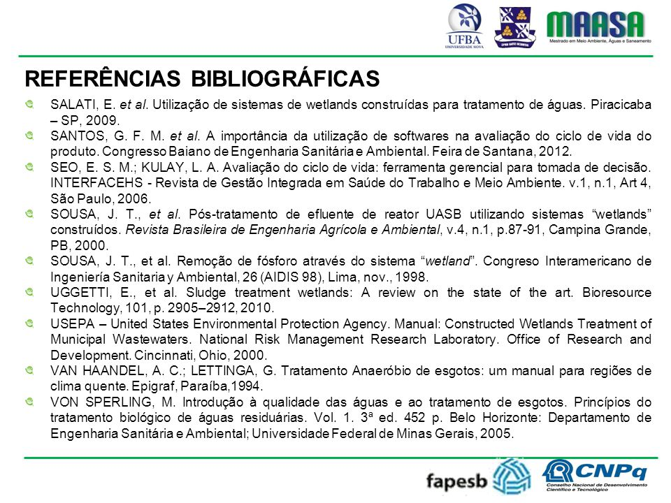 REFERÊNCIAS BIBLIOGRÁFICAS SALATI, E.et al.