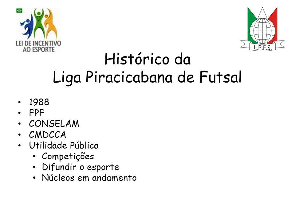 Histórico da Liga Piracicabana de Futsal 1988 FPF CONSELAM CMDCCA Utilidade Pública Competições Difundir o esporte Núcleos em andamento
