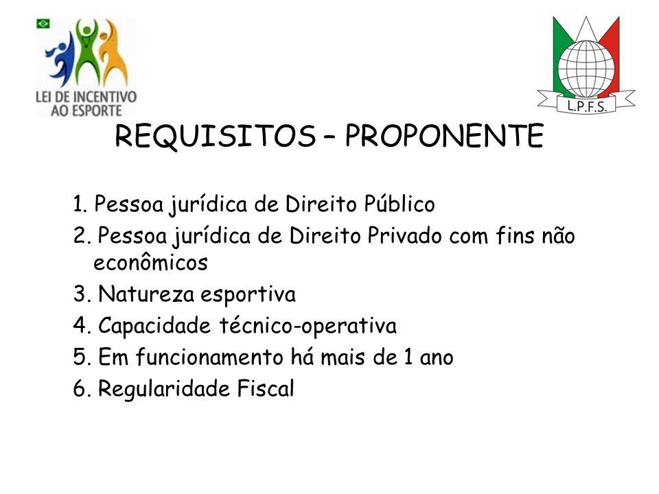 REQUISITOS – PROPONENTE 1. Pessoa jurídica de Direito Público 2.