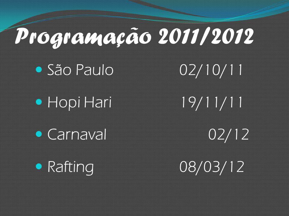 Programação 2011/2012 São Paulo 02/10/11 Hopi Hari 19/11/11 Carnaval 02/12 Rafting 08/03/12