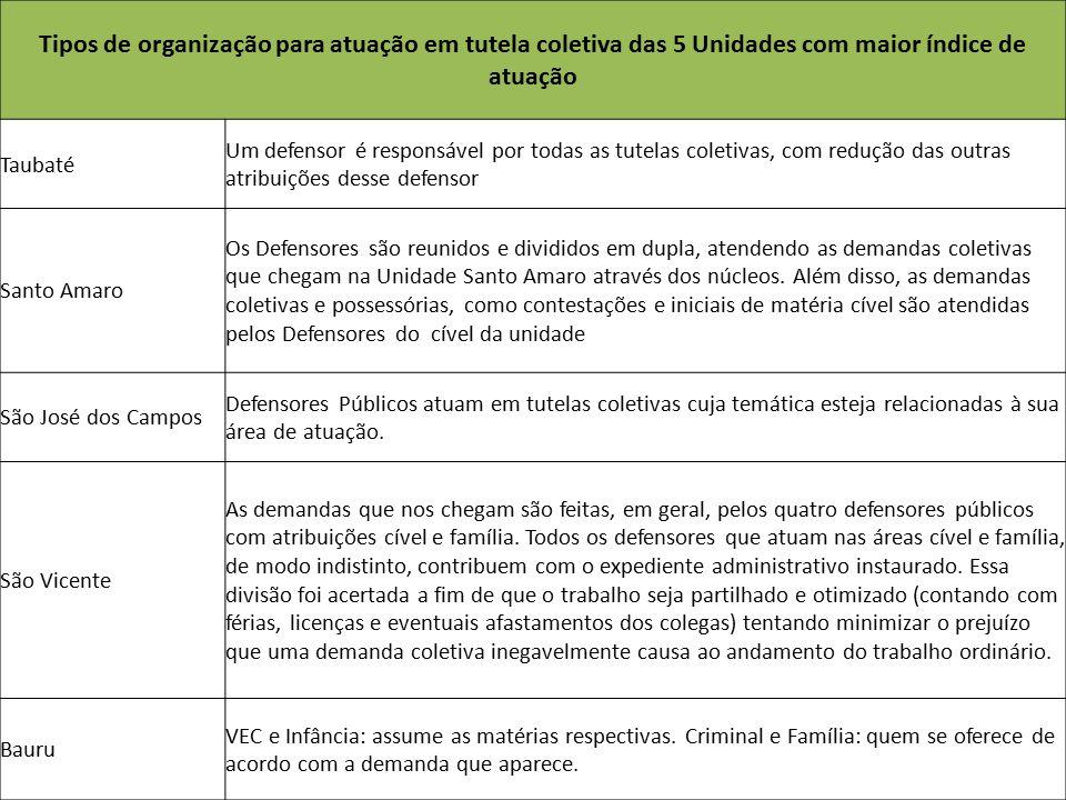 Tipos de organização para atuação em tutela coletiva das 5 Unidades com maior índice de atuação Taubaté Um defensor é responsável por todas as tutelas