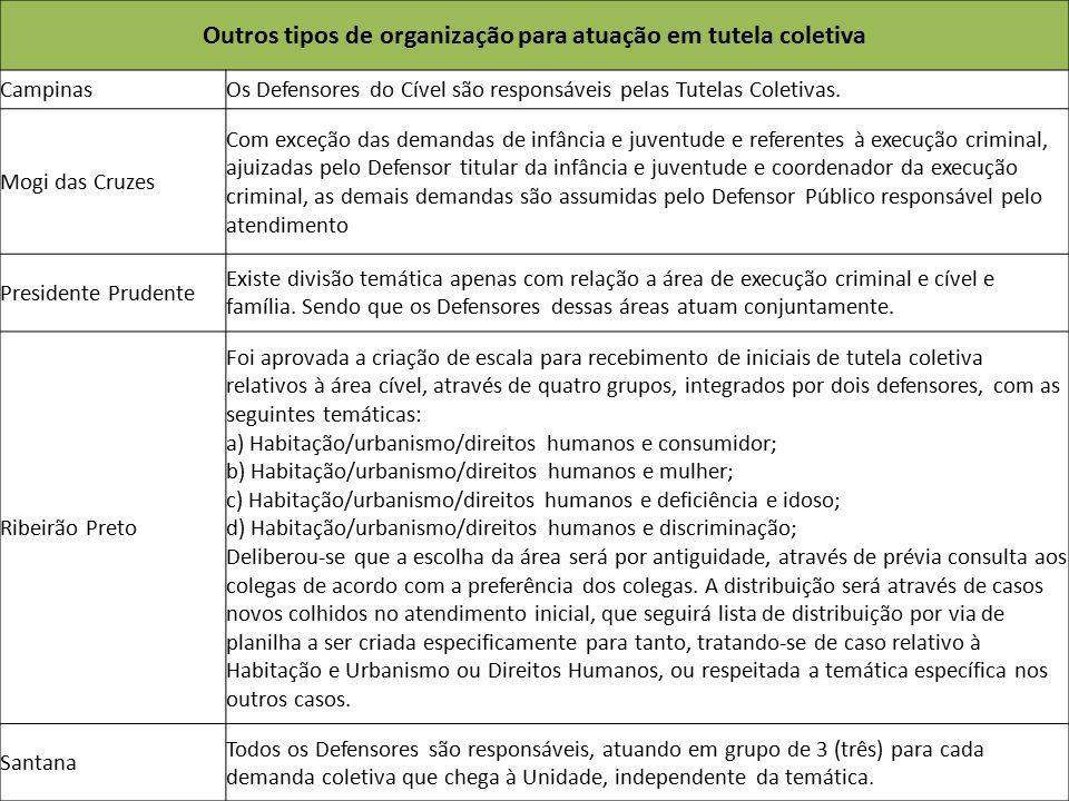 Outros tipos de organização para atuação em tutela coletiva CampinasOs Defensores do Cível são responsáveis pelas Tutelas Coletivas. Mogi das Cruzes C