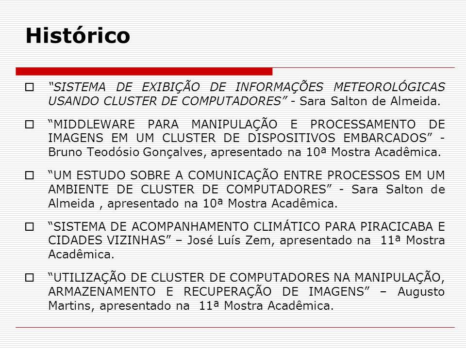 """Histórico  """"SISTEMA DE EXIBIÇÃO DE INFORMAÇÕES METEOROLÓGICAS USANDO CLUSTER DE COMPUTADORES"""" - Sara Salton de Almeida.  """"MIDDLEWARE PARA MANIPULAÇÃ"""