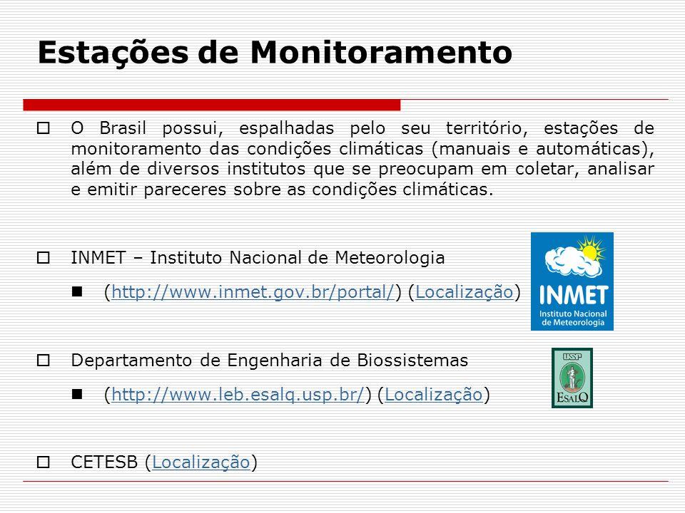 Estações de Monitoramento  O Brasil possui, espalhadas pelo seu território, estações de monitoramento das condições climáticas (manuais e automáticas