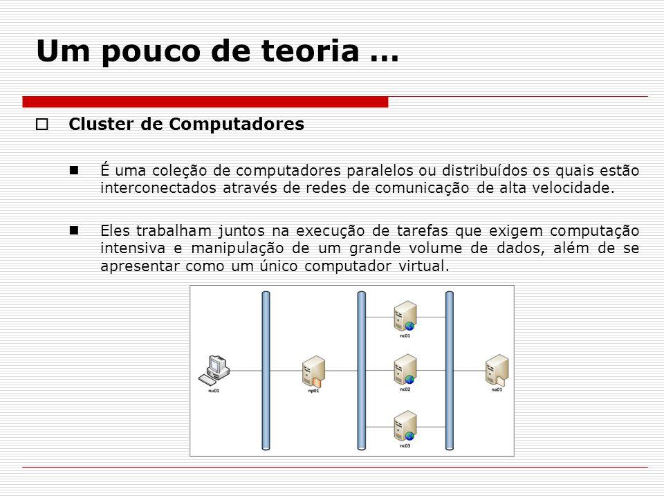 Um pouco de teoria …  Cluster de Computadores É uma coleção de computadores paralelos ou distribuídos os quais estão interconectados através de redes